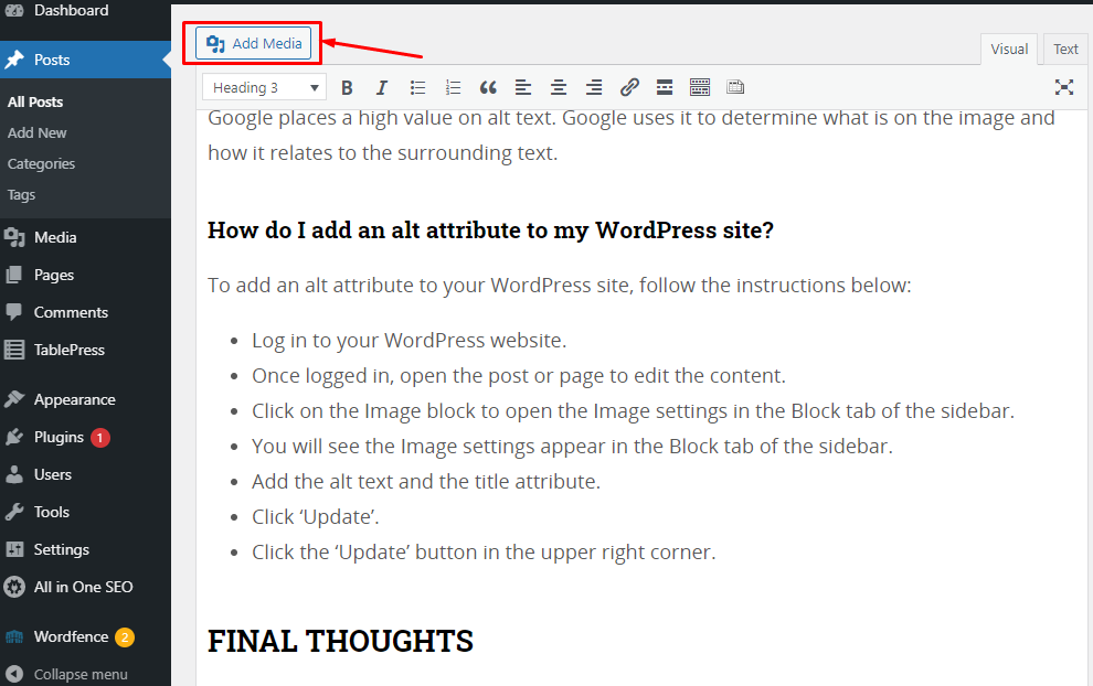 Screenshot of the instruction